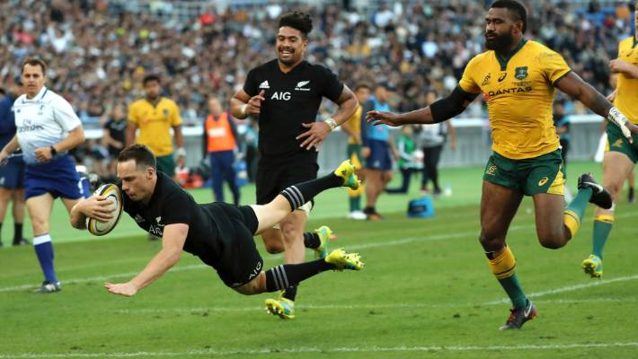 Ben Smith from New Zealand wins the fourth attempt of All Blacks against Wallabies during their rugby match at Bledisloe Cup at Nissan Stadium in Yokohama, Japan, last month.