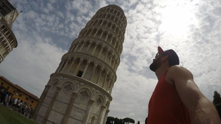 Visiting the Leaning Tower of Pisa: All in a day's work for Byron.