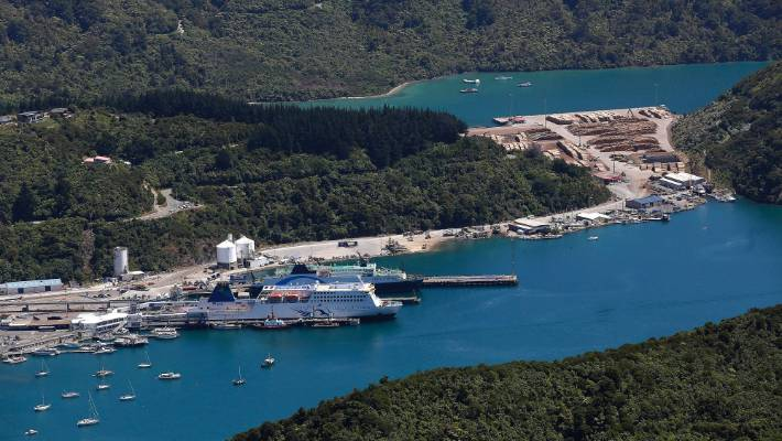 Picton's Shakepeare Bay, with its logging operations, was considered dry while interisland ferries used the main Picton port in the foreground.