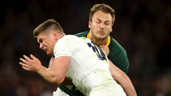 Owen Farrell's tackle on Andre Esterhuizen has divided the rugby world.