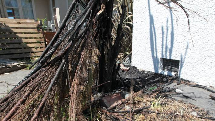 Neighbors extinguished the fire with a garden hose.