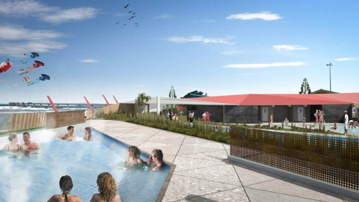 An artist's impression of the hot salt water pools in New Brighton.