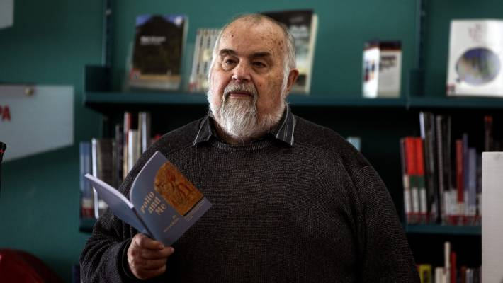 Author Mervyn Dykes at the launch of his new book Polio and Me.