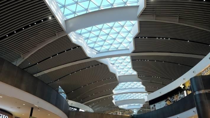 Futuristic ceiling in Rome Fiumicino.