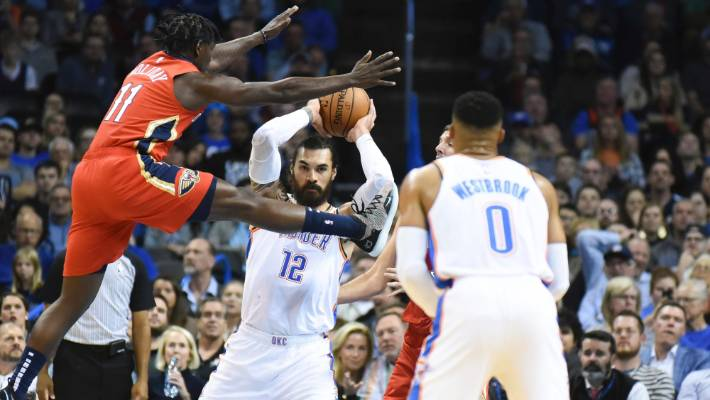 Steven Adams got busy for the OKC Thunder in their home victory over the  New Orleans 66f6616df16
