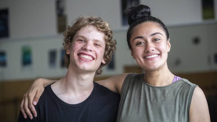 New Zealand dancing school student Amit Noy, 16 and Whitireia student Sina Esera, 21 have been in training at He Wawā Waraki: Roaring Chorus 2018.