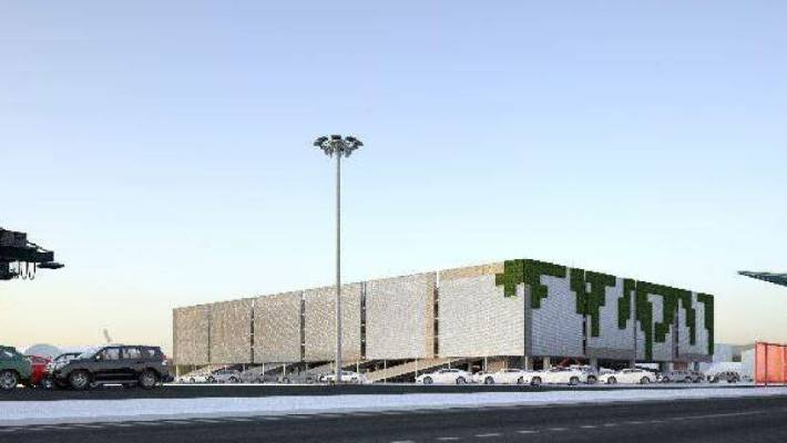 The five-level car park building with a rooftop park scheduled from the Auckland ports for Bledisloe Wharf from 2019