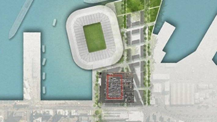 The location of the proposed Ports of Auckland car park, presented in connection with the memorial stage of the waterfront