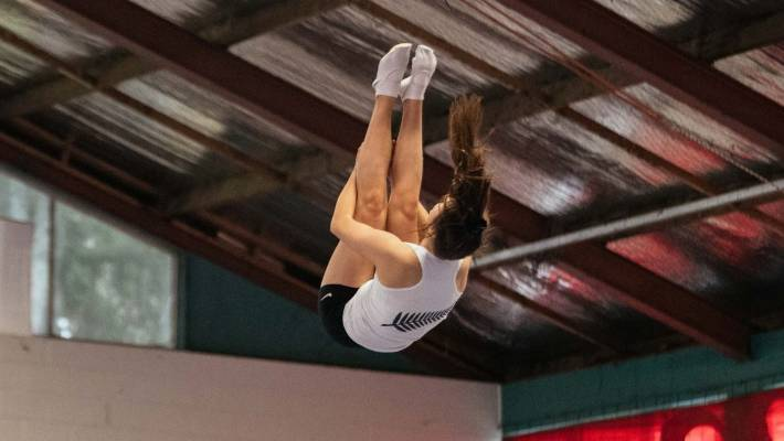 Sienna French started trampolining when she was six and now is at the top of her age group in Australasia.