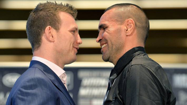 Jeff Horn and Anthony Mundine face off during a press conference to promote their Brisbane bout last month