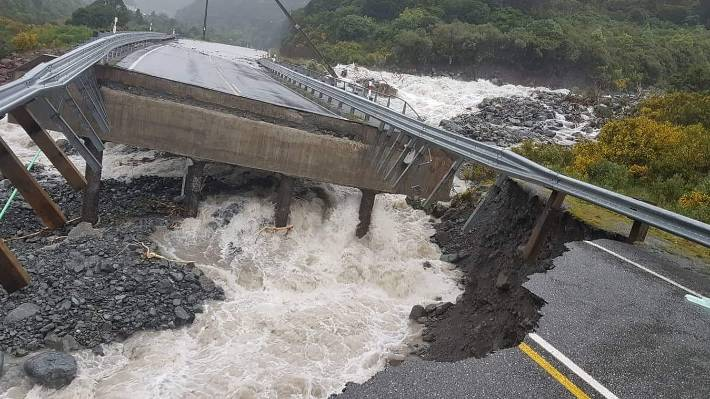 Access to the Goat Creek Bridge on the SH73 is washed in the dive.