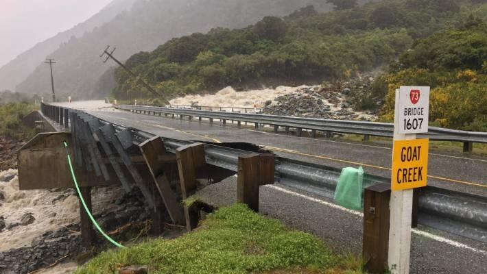 Heavy rain in the Otira gorge damaged the bridge over the Goat Creek.