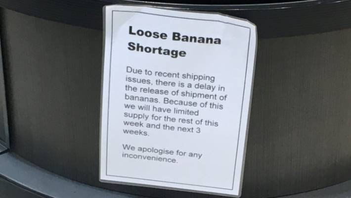 Signs have been installed in supermarkets to make customers aware of the shortage.