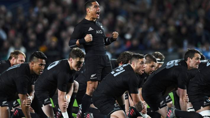 Aaron Smith leads the haka, which the English believe gives the All Blacks an unfair advantage.