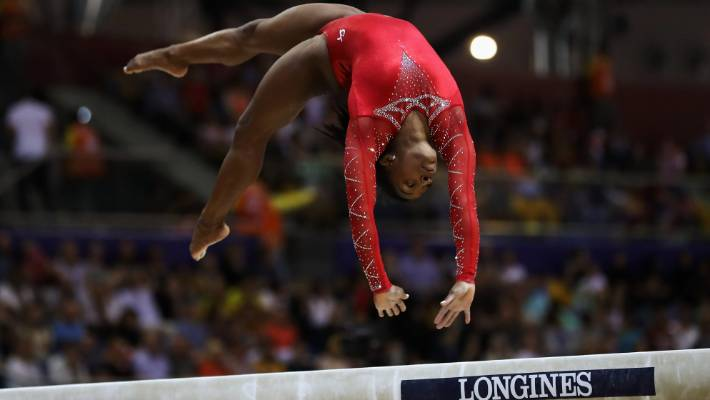 Simone Biles competes in the balance beam at the world championships in Qatar this month.