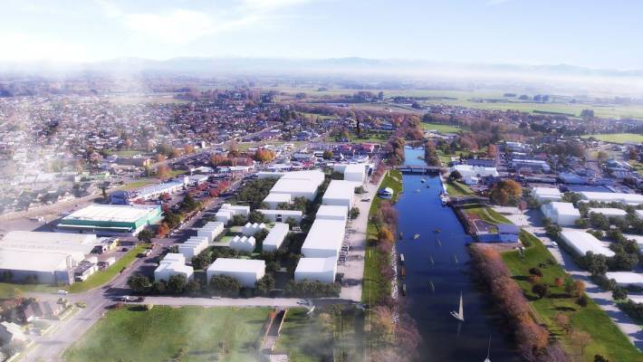 "An artist's impression of the revamped Kaiapoi town centre, focused around the Kaiapoi River with the goal to make Kaiapoi ""New Zealand's Best Rivertown""."