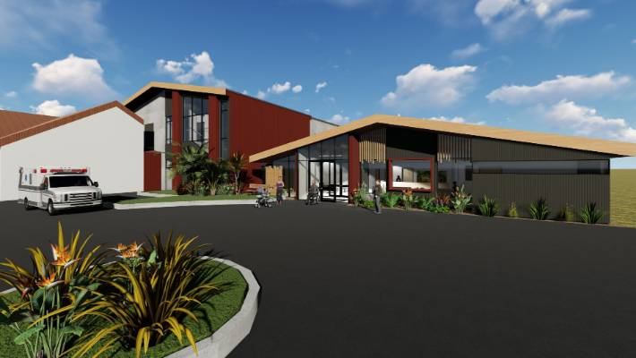 The artistic impression of the new main entrance to the Bay of Islands Hospital, which includes care facilities.