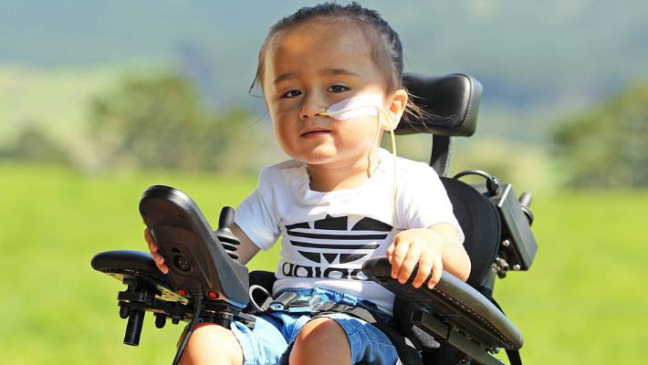Two-year-old Tama Hubbard was diagnosed with type 1 SMA several months ago and was told he isn't eligible for the free Spinraza treatment at Starship Hospital.