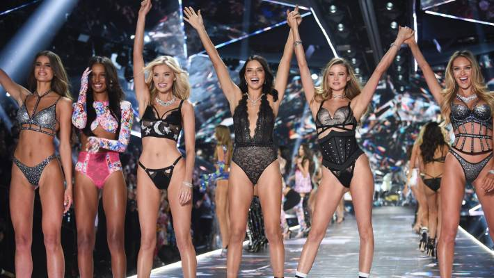 Models from left: Taylor Hill, Jasmine Tookes, Elsa Hosk, Adriana Lima, Behati Prinsloo, and Candice Swanepoel walk the runway during the 2018 Victoria's Secret Fashion Show in New York.