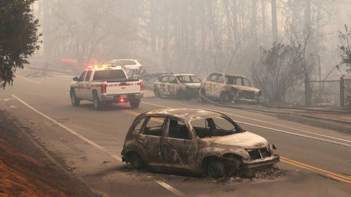 The roads were so clogged with vehicles, that some drivers left their cars and ran to escape the flames.