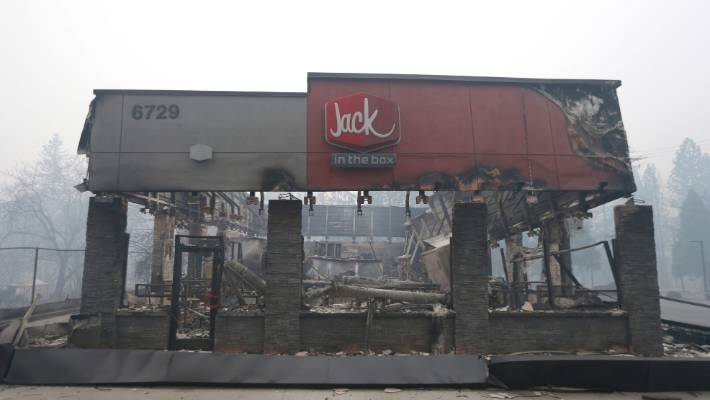 A burger restaurant destroyed by the massive wildfire.