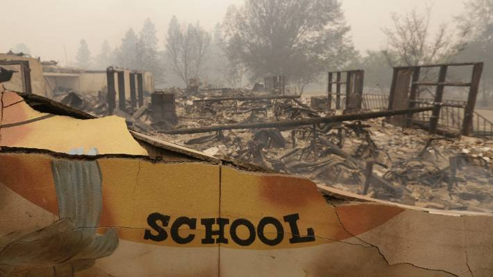 The burned remains of the Paradise Elementary school.