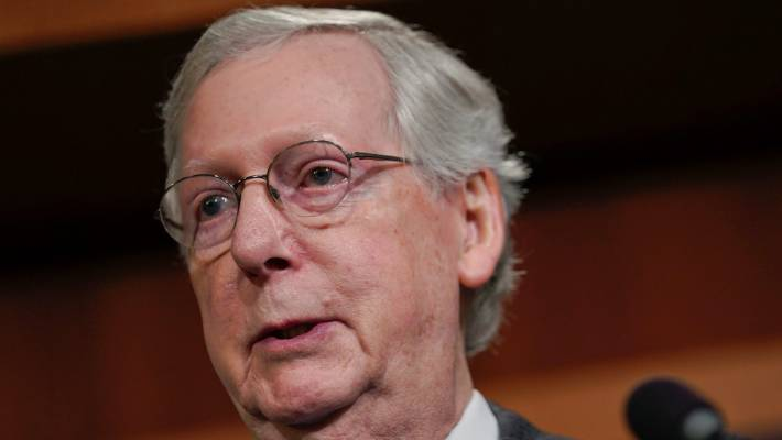 US Senate Majority Leader Mitch McConnell, speaking to members of the media.