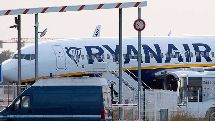 The impounded Ryanair plane sits on the tarmac at the Bordeaux-Merignac airport in southwestern France.