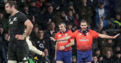 Referee Jerome Garces rules out England's late try against the All Blacks after consulting the TMO.