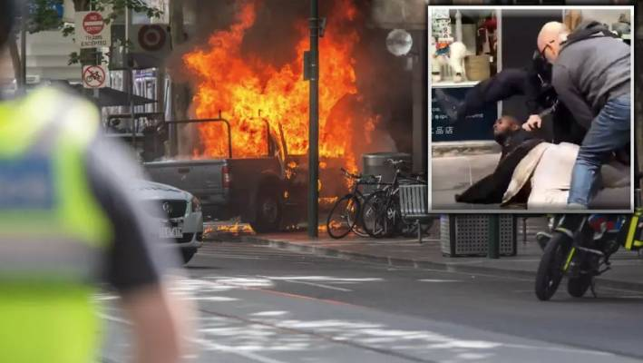 The ute bursting into flames on Bourke Street. (Inset: police tackle Hassan Khalif Shire Ali)