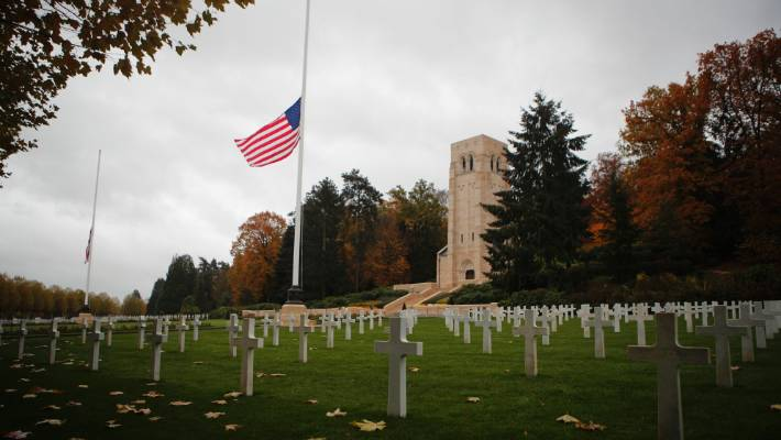 The US flag flutters at half mast prior to a ceremony at the Aisne Marne American cemetery and memorial in Belleau