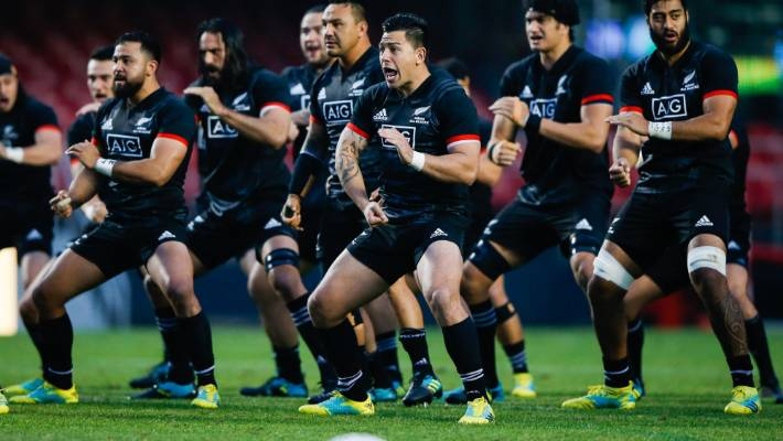 The New Zealand Māori players perform their haka before their clash against Brazil in Sao Paulo