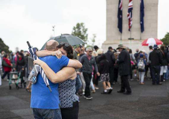 Armistice Centenary commemorations at the Auckland War Museum's Cenotaph.