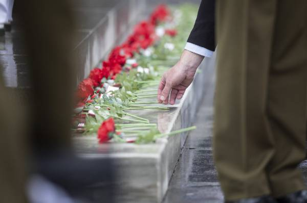 Roses are placed on the Auckland Cenotaph.