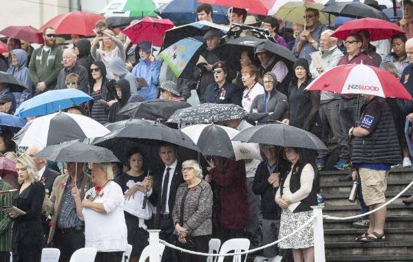 Rain arrived half way through the commemoration.