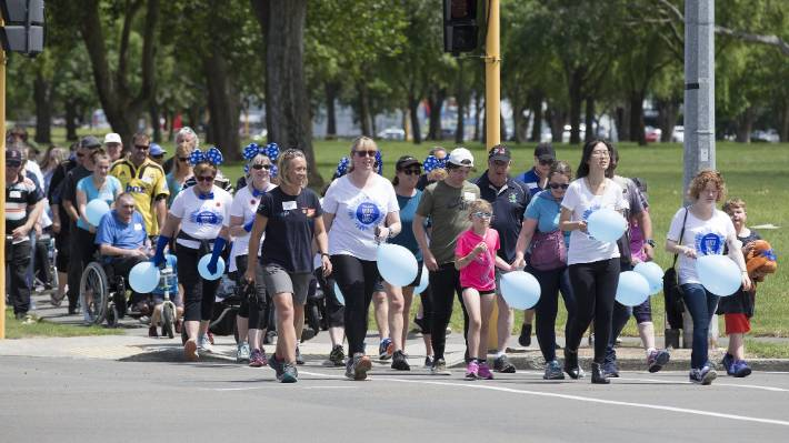 Patients and supporters of motor neuron disease walked from the Palmerston North Fire Station to the square to support people with the disease.