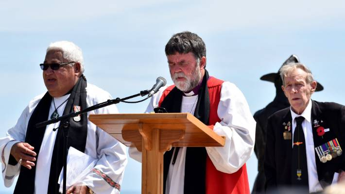 The Reverend Albie Martin and Archbishop Philip Richardson address the gathering.