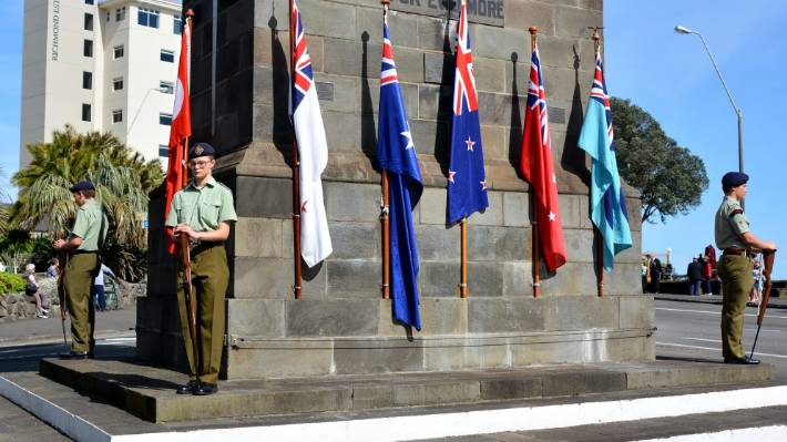 Cadets of the city of New Plymouth cadet unit on duty around the cenotaph.