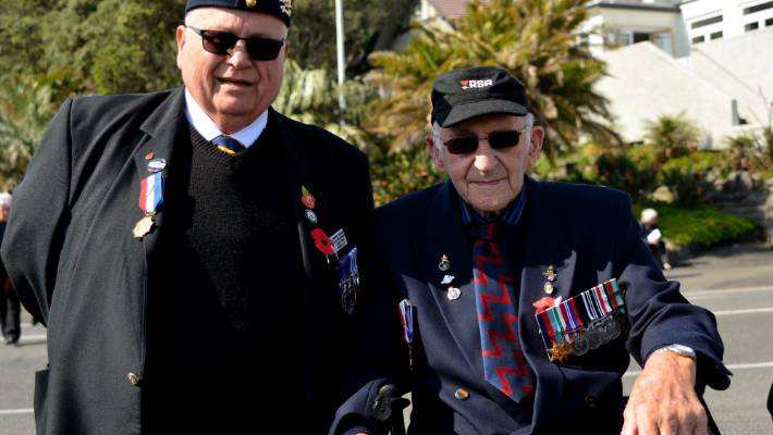Veterans John Whiskey Walker of the 17th, 21st Lancers Britain and Colin Cochran, both served in World War 2.