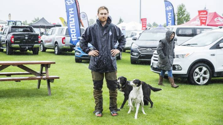 Dog trialist Freddy Gane with his sheep dogs Chief, in front, and Bee.