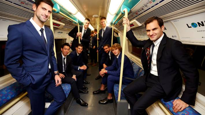 The eight singles players competing at the Nitto ATP Finals take the Jubilee line on the London Underground from North Greenwich station to Westminster station
