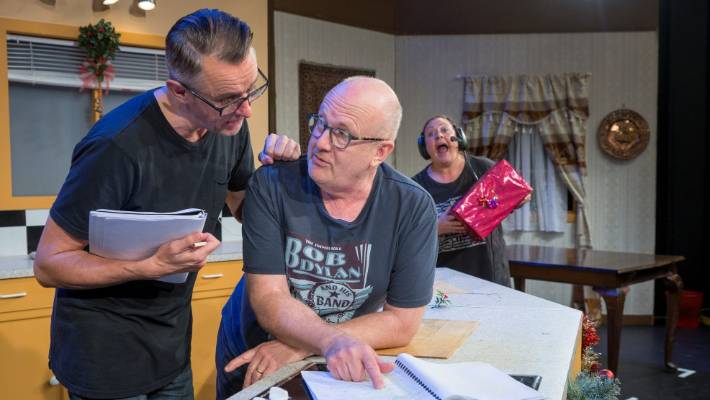 To the left, actors Andrew Laing, Peter Hambleton and Kate Louise Elliott during a rehearsal for Hudson and Halls Live.