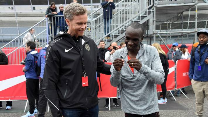 """The Nike Chief Executive Mark Parker, who is here with the Eliud Kipchoge runner, apologized for workers in May for the sneaker's """"boys' culture""""."""