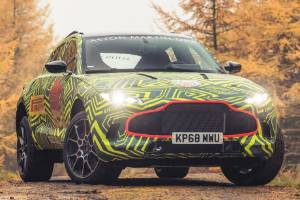 Aston Martin's DBX SUV is now undergoing testing. But still in disguise.