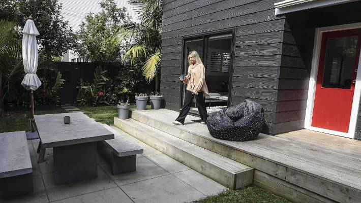 The outdoor area at Crisp's central Auckland flat.