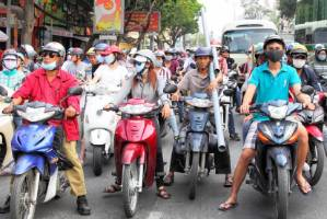 There is no such thing as light traffic in Vietnam.