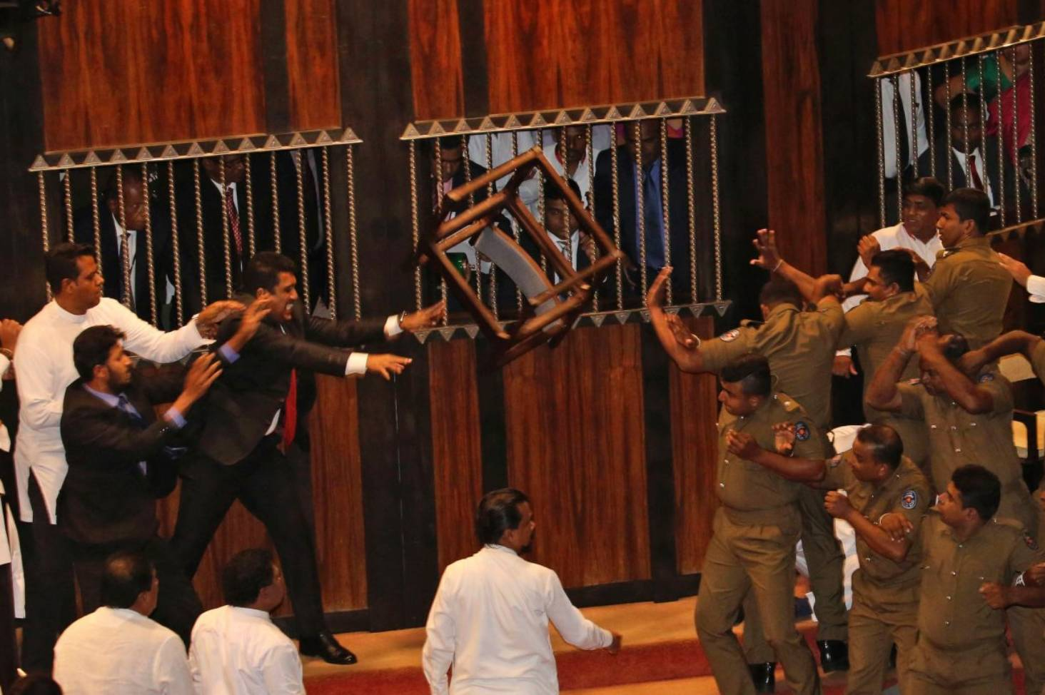 Sri Lankan leaders throw chairs and chili paste in Parliament
