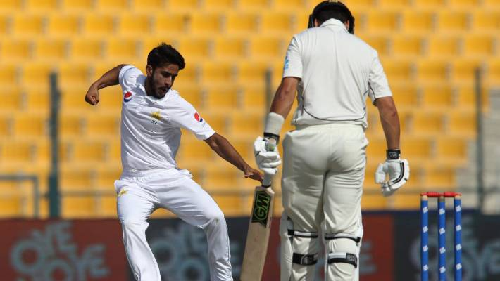 The celebration of Hasan Ali's trademark wicket was a regular sight in New Zealand's second round.