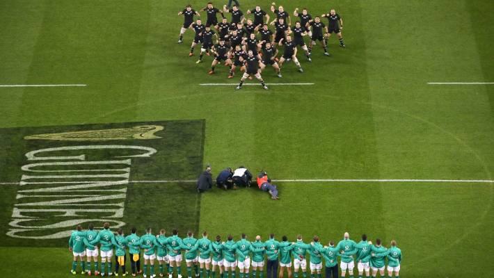 The All Blacks perform their haka against Ireland in Dublin.