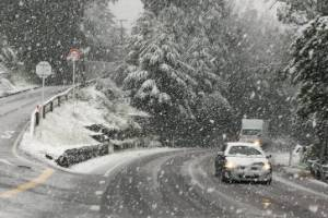 Snow at Arthurs Point near Queenstown on Monday morning.